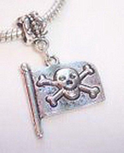 Glamorise Beads #14220 Pirate Flag Skull and Crossbones Dangle Bead for Silver European Charm Bracelets