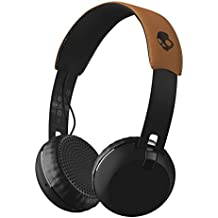 Skullcandy Grind Bluetooth Wireless On-Ear Headphones with Built-In Mic and Remote, 12-Hour Rechargeable Battery, Supreme Sound Audio, Plush Ear Pillows for Comfort, Black/Tan