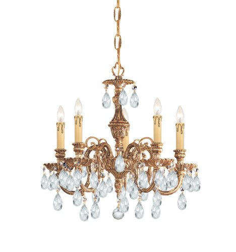 Crystorama Lighting Group 2905-CL Baroque 5 Light Cast Brass Crystal Chandelier, Olde Brass / Swarovski Spectra