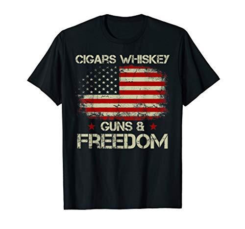 Cigars Whiskey Guns & Freedom American Flag Patriotic TShirt ()