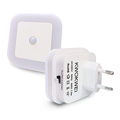 Warmweiß, LED Nachtlicht mit Bewegungsmelder und Helligkeitssensor, KWOKWEI LED Nachtlichter mit Integriertem Dämmerungssenso
