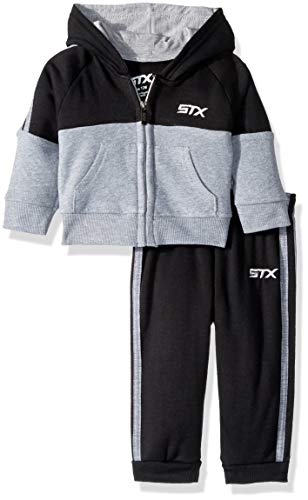 STX Fashion Baby Boys Fleece Zip Hoodie and Jogger Set, Blac