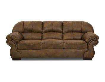 Pinto Tobacco Leather Look Fabric Sofa: Amazon.co.uk ...