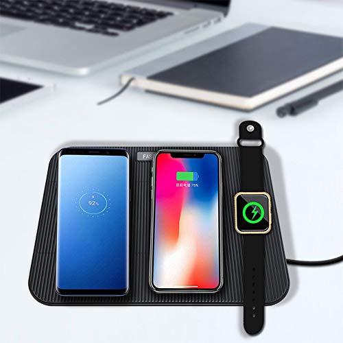 Studyset - Base de Carga inalámbrica 4 en 1 para Apple Watch iPhone 8 Plus X XR XS MAX Samsung S9 S8, Negro, 1