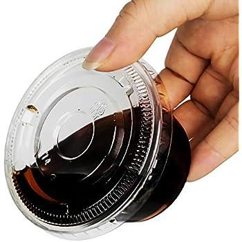 TashiBox 4 oz Plastic Cups/Disposable Portion Cups/Souffle Cups with Lids, 100 Sets