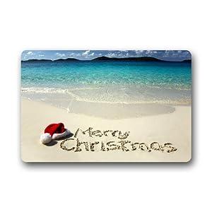DailyLifeDepot Generic Machine Clean Top Fabric & Non-Slip Rubber Backing Durable Indoor / Outdoor Doormat Door Mats - Merry Christmas Summer Beach Blue Ocean Design