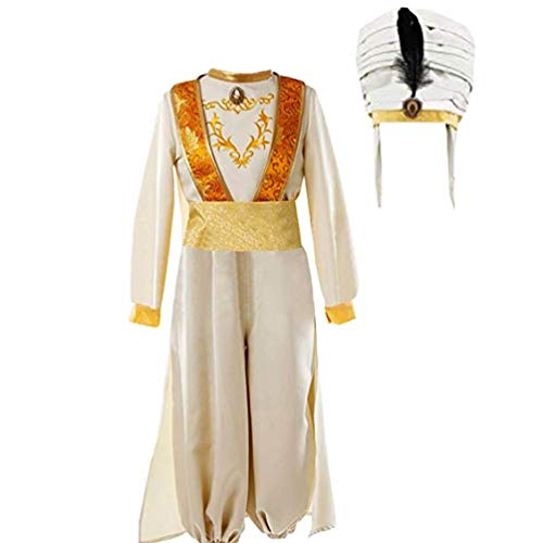 Men Arabian Prince Fancy Uniform Dress for Aladdin Cosplay Costume Halloween (M) White -