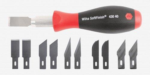 Wiha 43040 Universal Razor Edge Scraper with Cushioned Grip with Assorted Blade 10 Pack