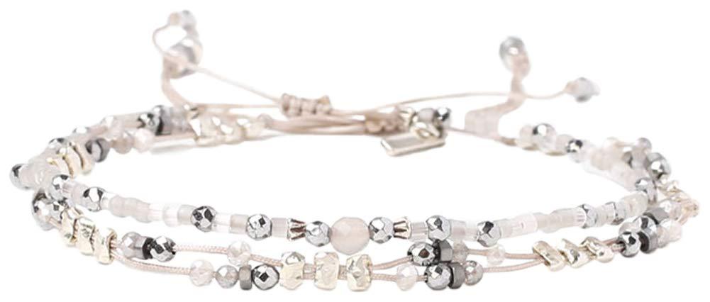 Chan Luu Light Grey Sterling Silver Nuggets Mix Pull Tie Bracelet (Set of 2 Single)