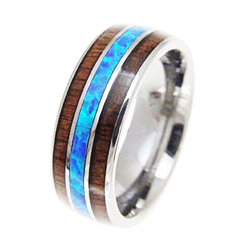 Tungsten Carbide Hawaiian Koa Wood with Synthetic Blue Opal Inlay 8mm Comfort Fit Ring / Wedding Band (Synthetic Blue Opal Inlay)