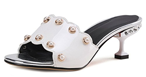 Heels Daily Toe Sandals Mules Kitten Open Women's Aisun Beads White XqRFTx5n