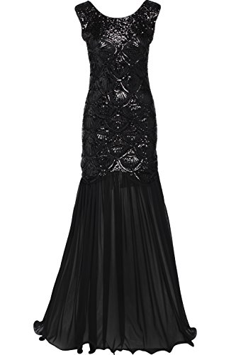 BABEYOND 1920s Flapper Fancy Dress Roaring 20s Gatsby Dress Costume Vintage Beaded Sequin Dress Long Evening Dress For Prom Party (Woman Costume Dress Pretty)