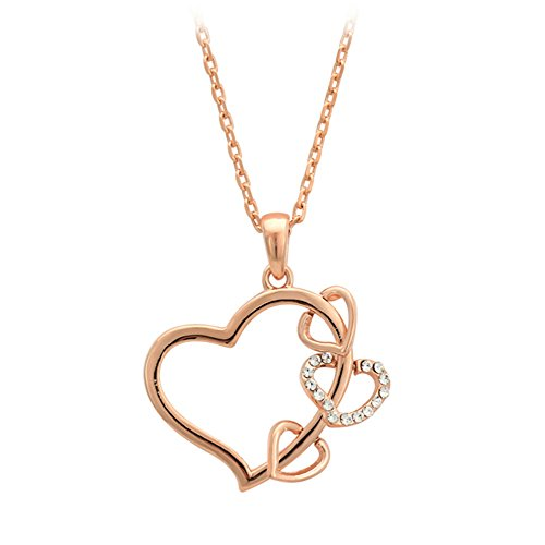 Isijie Jewelry Rose Gold Plated Triple Heart Pendant Necklace,Gift of Love for Girlfriend Mom Wife Daughter by Isijie Jewelry