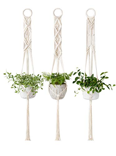 Mkono Macrame Plant Hangers Set of 3 Indoor Wall Hanging Planter Basket Flower Pot Holder Boho Home Decor, 39 Inch