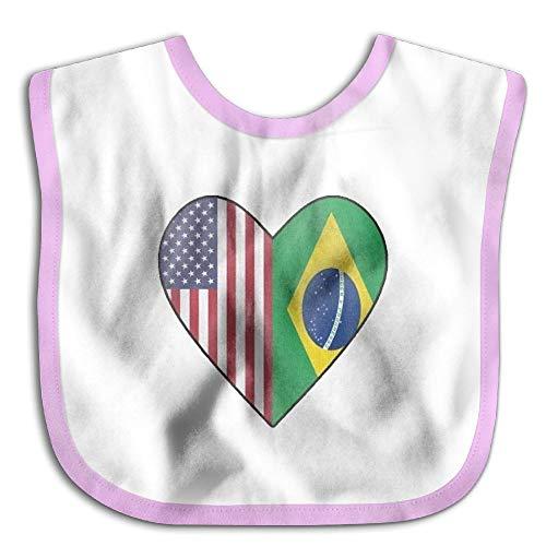 Heart Flag Bib - Half Brazil Flag Half USA Flag Love Heart Baby Cotton Bib For Drooling And Teething