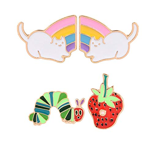 Design Floral Brooch - Beyonder Cartoon Animal Plant Floral Fruits Foods Enamel Brooches Pins for Children Women Girls Clothing Bags Backpacks Jackets Decor (Couple Cats Rose Wine Glass Set Of 6)