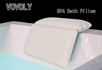VOVOLY Bath Pillow Large Suckers Non-Slip Spa Bath Pillow Featuring Powerful Gripping Technology Fits Any Size Tub