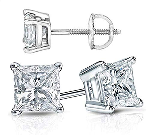 (Venetia Supreme Realistic Princess Cut NSCD Simulated Diamond Solitaire Earrings Earstuds Screw Back Solid 925 SIlver Platinum Plated 1 2 Carats different sizes 5mm 6mm 7mm (5x5mm 0.5 carat each)