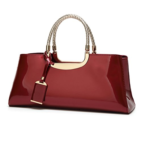 Glossy Faux Patent Leather Structured Shoulder Handbag Women Evening Party Satchel (Red)