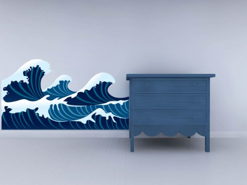 "Blue Waves Sea Crashing Asian Inspired Wall Decal - 45"" x 25"""