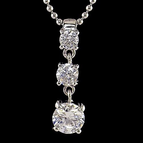 Sterling Silver CZ 3 Stone Pendant