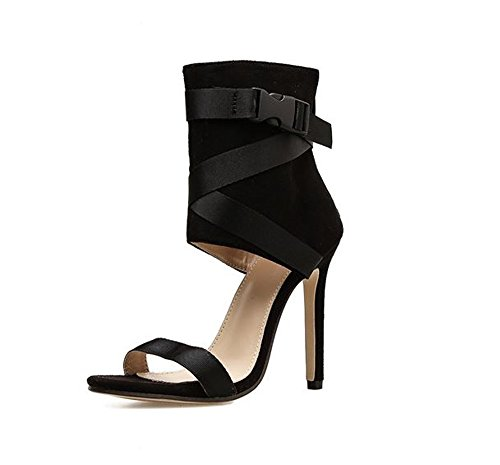 Queena Wheeler Heeled Sandals for Women Shoes Stiletto Heels Dress Party Wedding Sandals Dress Sandals Black