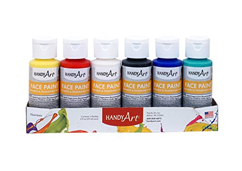 Handy Art HAN882555 Primary Face Paint Kit, Assorted, 2-Ounce, 6-2oz