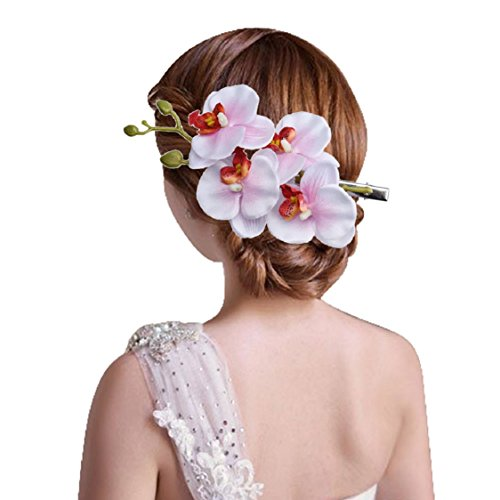 Ikevan Hot Selling Women Fashion Jewelry Side Clip Barrette Simulation Butterfly Orchid Hairpins Hair Accessories (Light Pink)