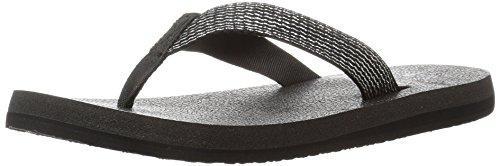 Sanuk Women's Yoga Mat Web-Bling Flip Flop, Black/Silver, 07 M US (Bling Sandals Flip Flops)