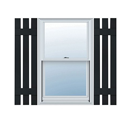 Ekena Millwork LS3S12X04700BL Lifetime Vinyl, Standard Three Board Spaced, Board-n-Batten Shutters, w/ Installation Shutter-Lok's & Matching Screws (Per Pair), 12
