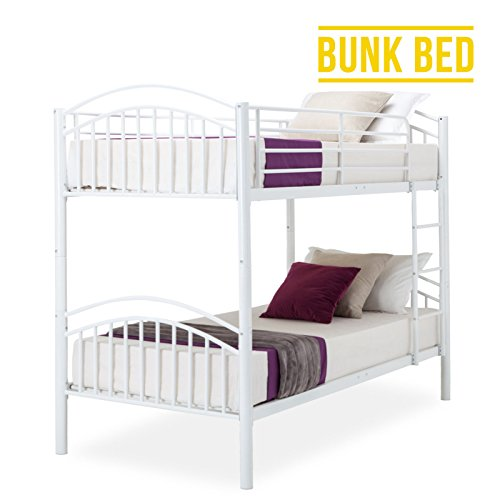 UEnjoy White Bunk Bed Frame 3FT Single Metal Bed For Adult and Children