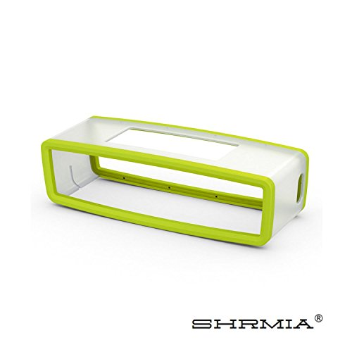 Shrmia Bluetooth Speaker TPU Travel Carry Pouch Silicone Gel Rubber Cover Soft Case for Bose Soundlink Mini 2 - Green