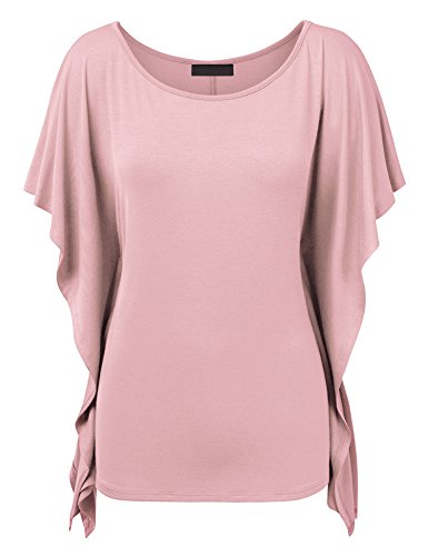WT1340 Womens Solid Scoop Neck Short Sleeve Poncho Tunic Top XXL (Pink Scoop Neck Top)