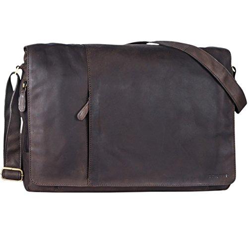 STILORD 'Maximus' Borsa in Pelle XXL Bolso de piel vintage hombres para notebooks 19'' Borsa de cuero auténtico de búfalo, Color:cognac - marrón claro marrón oscuro - opaco