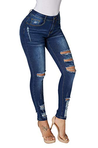GOSOPIN Womens Ankle Length Destroyed Denim Hole Trousers Skinny Ripped Jeans Pants Medium Dark Blue