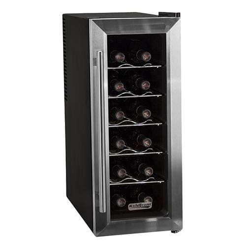 Koldfront TWR121SS 12 Bottle Stainless Steel Slim-Fit Freestanding Thermoelectric Wine Cooler Freestanding Slide In Range