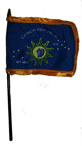 Island Personalized Mint - ALBATROS Key West Conch Republic Gold Fringe Flag 4 inch x 6 inch Desk Set Table Stick with Black Base for Home and Parades, Official Party, All Weather Indoors Outdoors