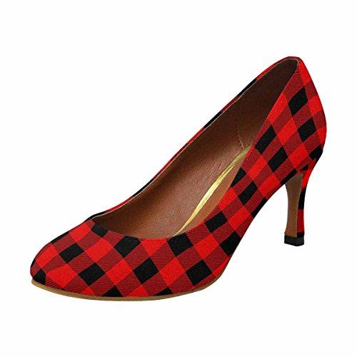 InterestPrint Womens Classic Fashion High Heel Dress Pump Shoes Lumberjack Pattern JbI7ZYf