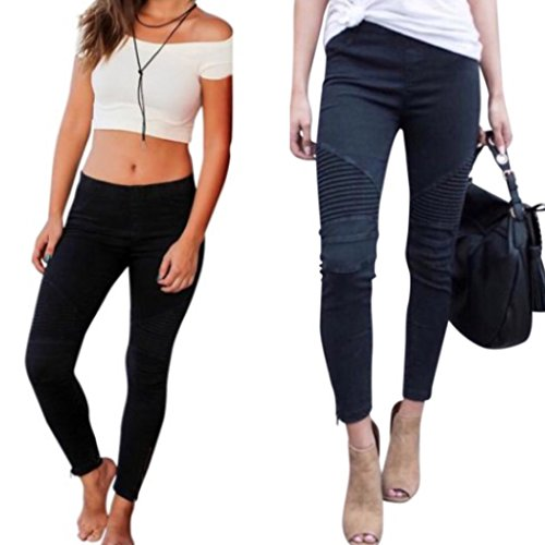 Moto Jeggings With Ankle Zipper Stretch Skinnies Pleated Skinny Jean Leggings (L/XL, Jet Black)