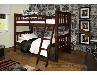 Amazon Com Bunk Bed Twin Over Twin Mission Style In Cappuccino
