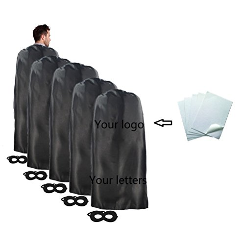 Men In Black Group Costume (Ranavy Superhero Capes and Mask 5 Pieces For Adult No-sew No-glue DIY Party Costume Plain Color (Black))