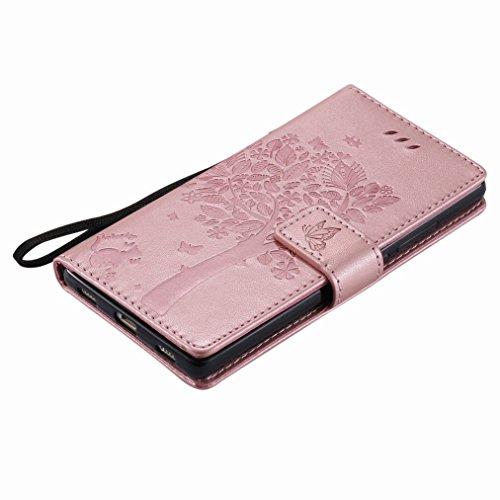 Yiizy Huawei P8 Custodia Cover, Albero e Gatti Goffratura Design Sottile Flip Portafoglio PU Pelle Cuoio Copertura Shell Case Slot Schede Cavalletto Stile Libro Bumper Protettivo Borsa (Oro Rosa)