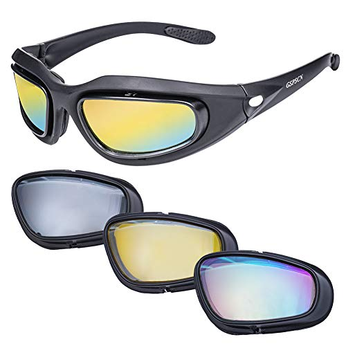 GSPSCN Polarized Motorcycle Riding Glasses Matte Black Frame Goggles Sport Sunglasses with 4 Lens Kit for Outdoor Activity Sport