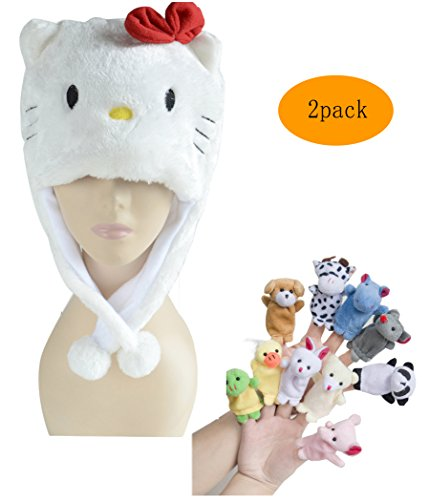 [Pulama Winter Plush Cartoon Animal Hats Warm Ear-flap Hood Scarf with 10pcs Educational Toy Finger Puppets for] (Kitty Newborn Baby Costumes)