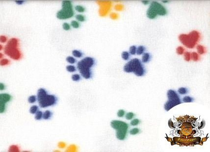 Fleece Fabric Printed Animal Print Pawprint MULTICOLOR Fabric By the Yard
