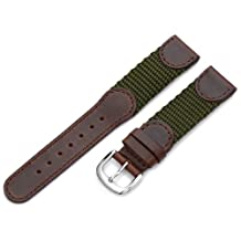 Hadley-Roma Men's MSM866RAB180 18mm Brown and Olive 'Swiss-Army' Style Nylon and Leather Watch Strap