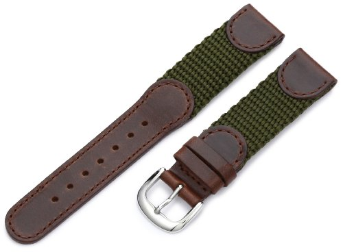 Hadley-Roma Men's MSM866RAB180 18-mm Brown and Olive 'Swiss-Army' Style Nylon and Leather Watch - Swiss Watch Accessories Army