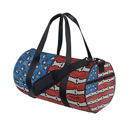 OuLian Gym Bag Dog Gone American Flag Folk Art Women Canvas Duffel Bag Cute Sports Bag for Girls -