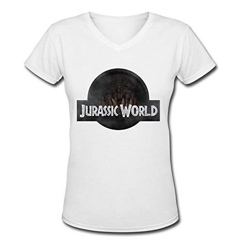Jiaso Women's Jurassic World V-Neck Cotton T Shirts X-Large