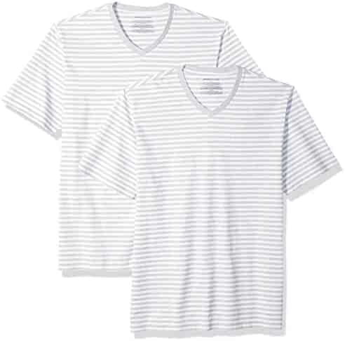9aa7b3f85c Amazon Essentials Men's Loose-fit Short-Sleeve Stripe V-Neck T-Shirts